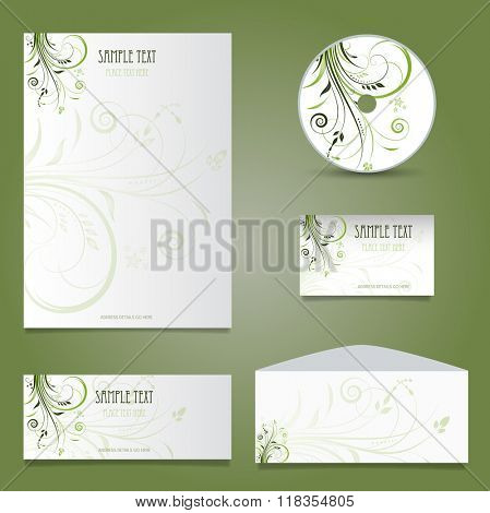 Decorative business stationery mock up with floral design