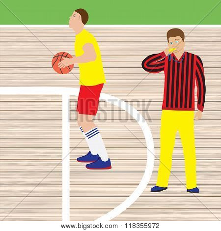 Basketball Player And Referee.