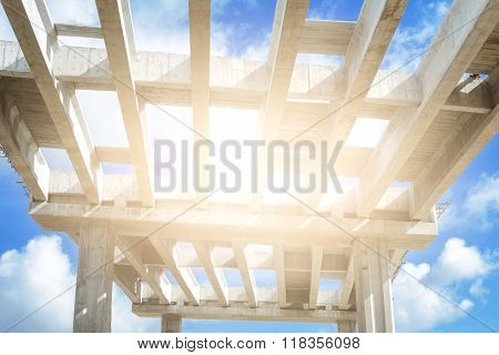 abstract construction concept, structure of bridge under construction