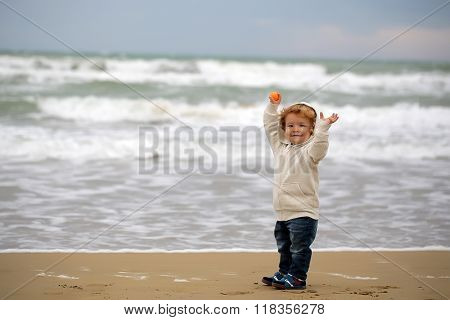 Small Boy In Hooded Coat