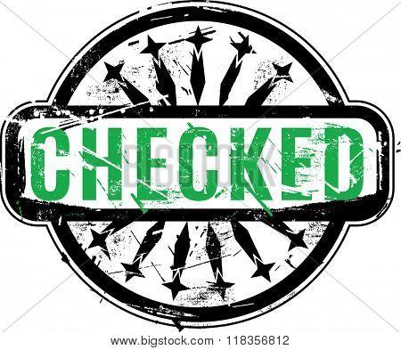 Vector Checked Rubber stamp with grunge texture for your design.