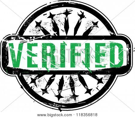Vector Verified Rubber stamp with grunge texture for your design.