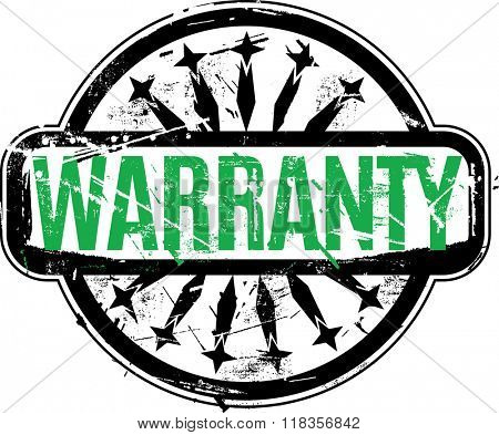 Vector Warranty Rubber stamp with grunge texture for your design.