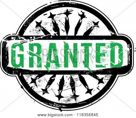 Vector Granted Rubber stamp with grunge texture for your design.