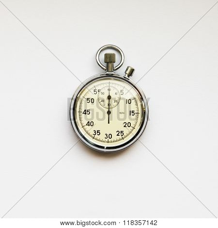 Old fashioned mechanical stopwatches isolated on white