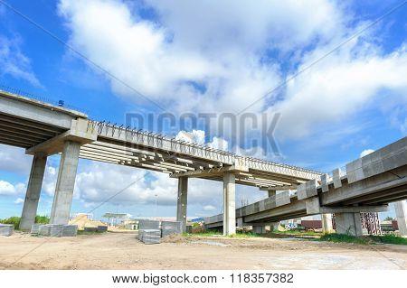 construction background, structure of bridge under construction