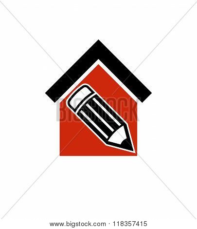 Architectural design conceptual symbol simple house vector icon with edit pencil. ?onstruction project and engineer graphic element.