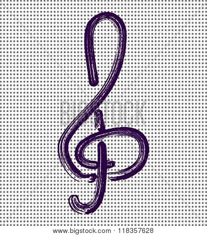 Treble clef on a background with dots