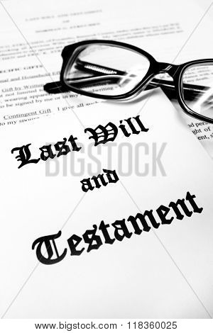 Envelope with Last Will and Testament and Reading Glasses