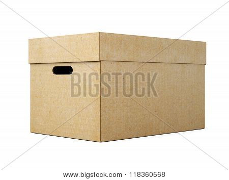 Cardboard Box With Lid On White Background. 3D Render Image