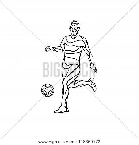 Soccer or football player kicks the ball.