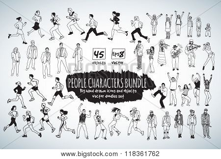 Big bundle people characters doodles black and white icons.