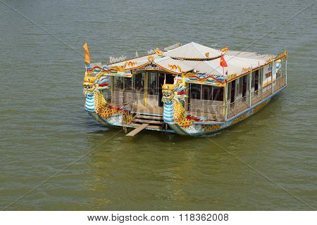 Tourist catamaran, excursion on the river in the city of Hue, Vietnam