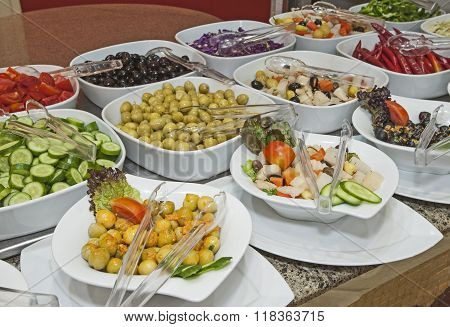 Selction Of Salads At A Restaurant Buffet