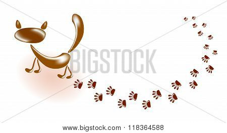 Cat and his footprints. EPS10 vector illustration