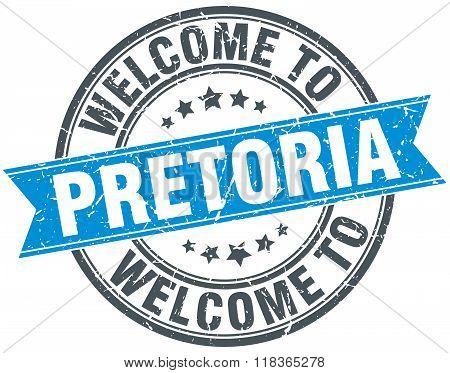 welcome to Pretoria blue round vintage stamp