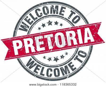 welcome to Pretoria red round vintage stamp