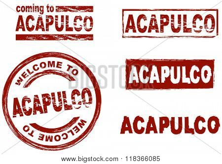 Set of stylized ink stamps showing the city of Acapulco