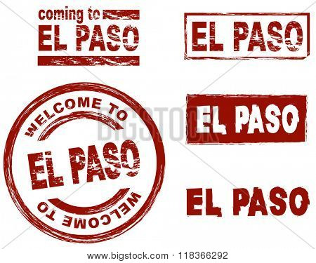 Set of stylized ink stamps showing the city of El Paso