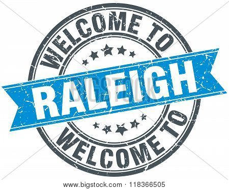 welcome to Raleigh blue round vintage stamp