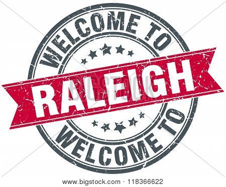 welcome to Raleigh red round vintage stamp