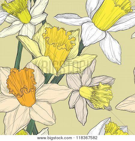 Jonquil Daffodil Narcissus Seamless Pattern