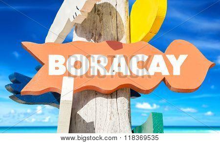Boracay welcome sign with beach
