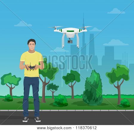 Guy controling aerial quadrocopter drone in the city park. Vector illustration.