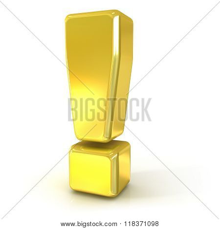 Exclamation mark 3D golden sign