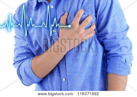 Man having chest pain - heart attack.
