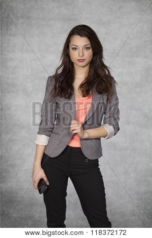 Young Beautiful Business Woman, Posing For Picture