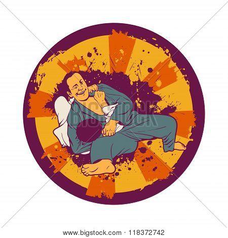 Colorful Vector Illustration With Brazilian Jiu Jitsu Fighters.