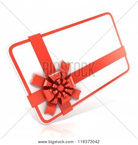 White blank gift card with red ribbon. 3D