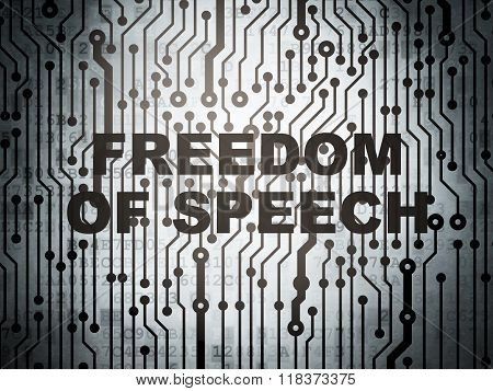 Political concept: circuit board with Freedom Of Speech