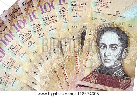 100 Venezuelan Bolivares Bank Note Isolated On White Background