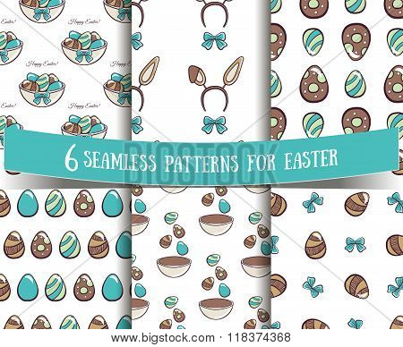 Set Of Seamless Patterns Easter