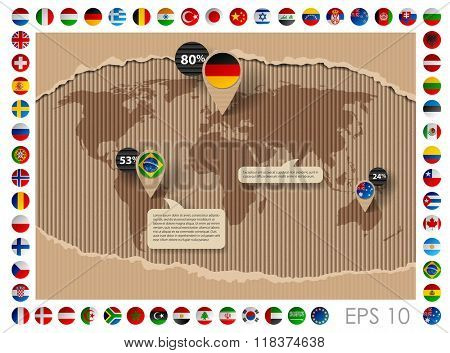Corrugated cardboard business template with world map and state flags. Web page design. Vector illustration