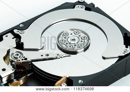 Close up of open computer hard disk drive HDD