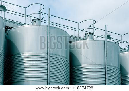 Wine Fermenting in huge vats