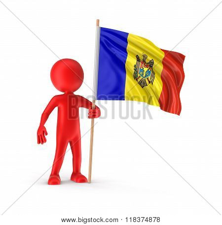 Man and Moldavian flag. Image with clipping path