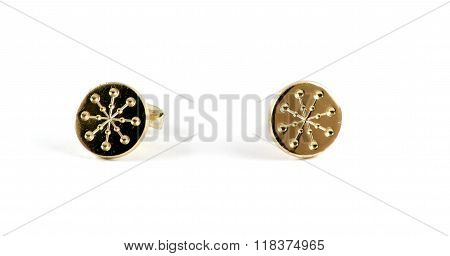 Isolated Golden Cufflinks