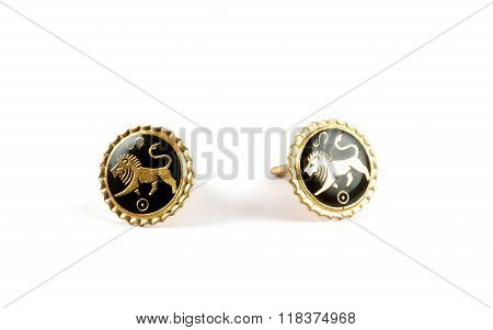 Isolated Golden Cufflinks With Lions