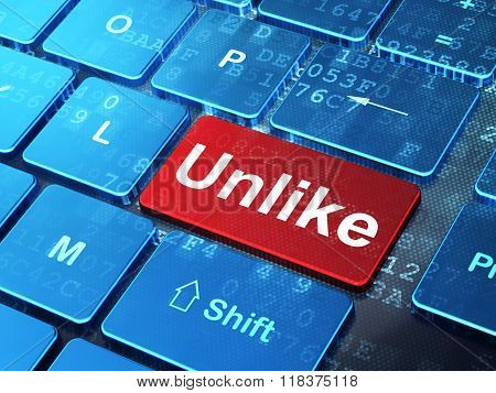 Social media concept: Unlike on computer keyboard background