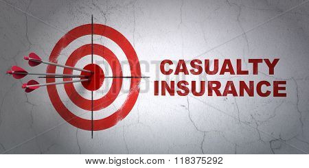 Insurance concept: target and Casualty Insurance on wall background