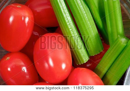Cherry Tomatoes With Celery Close Up