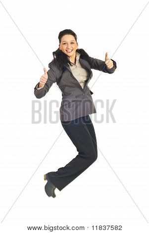 Business Woman Jumping And Gives Thumbs