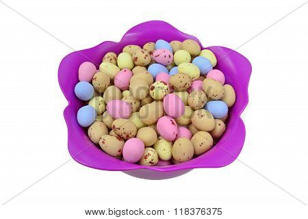 Easter Eggs In A Tulip Shaped Bowl