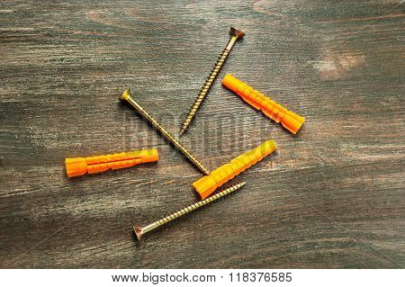 Goldish Screws With Dowels.