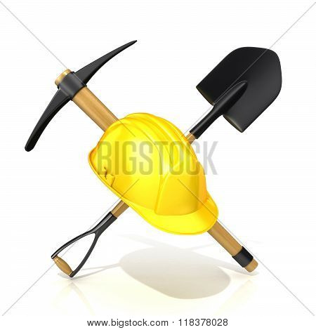 Mining tools shovel pickaxe and safety helmet. 3D