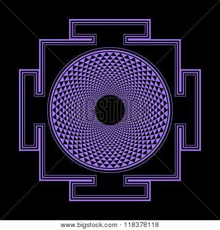 Monocrome Outline Sahasrara Yantra Illustration.